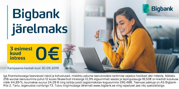 Septembri lõpuni kõikide arvutite puhul Bigbank järelmaksu 3 esimest kuud intressivaba