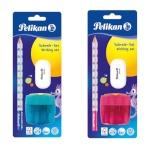 Herlitz Harilik pliiats Pelikan + kustukas + teritaja sinine või roosa