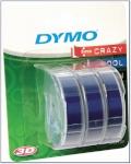 1x3 Dymo etiketiprinteri etiketid 3D Prägeband 9 mm x 3 m Plastik sinine