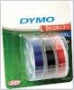 3x1 Dymo etiketiprinteri etiketid 3D Prägeband 9 mm x 3 m Plastik punane/sinine/must