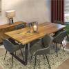 H4Y Söögilauakomplekt ROTTERDAM 6-tooliga (37049) lauaplaat: rustik tammespooniga mööbliplaat, mustad metallist jalad