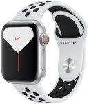 Apple Watch Series 5 Nike GPS + Cellular, 44mm Silver Aluminum Case with Pure Platinum/Black Nike Sport Band
