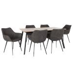 H4Y Söögilauakomplekt HELENA 6-tooliga (37049) lauaplaat: MDF tammespooniga, metallist jalad