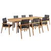 H4Y Söögilauakomplekt NAUTICA 8-tooliga (13259) lauaplaat: rustik tiikpuu, õlitamata, roostevabast terasest jalad