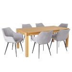 H4Y Söögilauakomplekt CHICAGO NEW 6-tooliga (37046) täispuit / MDF tammespooniga, õlitatud