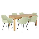H4Y Söögilauakomplekt CHICAGO NEW 6-tooliga (37047) täispuit / MDF tammespooniga, õlitatud