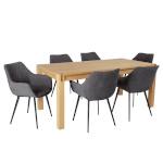 H4Y Söögilauakomplekt CHICAGO NEW 6-tooliga (37049) täispuit / MDF tammespooniga, õlitatud