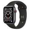 Apple Watch Series 6 GPS + Cellular, 44mm Space Gray Aluminium Case with Black Sport Band