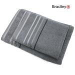 Bradley froteerätik 50 x 70 cm, triibulise bordüüriga, hall