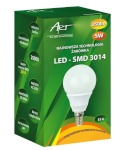 ART LED-pirn E14, 5W, 40xSMD3014, AC230V, 350lm Warm White