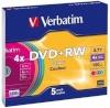 Verbatim toorik 1x5 Verbatim DVD+RW 4,7GB 4x Speed Colour Surface Slimcase
