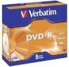 Verbatim toorik 1x5-pakk DVD-R 4,7GB 16x Speed, Jewel Case