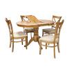Söögilauakomplekt MIX & MATCH 4-tooliga (20838), D90+30xH74cm, puit: kummipuu, värvus: hele tamm, viimistlus: lakitud