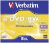 Verbatim toorikud 1x5 DVD+RW 4,7GB 4x Speed, matt hõbedane Jewel Case