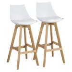 Baaripukk SONJA 2tk, 41x41,5xH99cm, iste: plastik / kunstnahk, värvus: valge, tammepuidust jalad