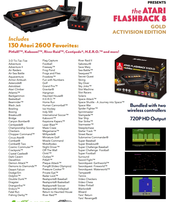 Atari Flashback 8 Gold Activision Release Date The Gold